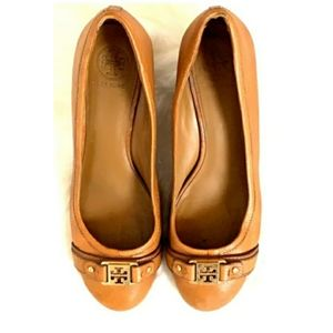 Sale! Tory Burch Brown Leather Wedge Shoes